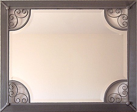 Diamond Beveled Silver Wrought Iron Mirror