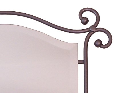 Suspended Beveled Wrought Iron Mirror Close-Up