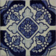 Blue Poinsettias Talavera Mexican Tile