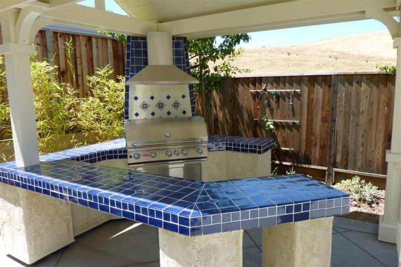 Cobalt Blue Mexican Talavera Tile On A Bbq Countertop