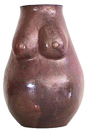 Folk Art Mid-size Copper Nude Pregnant Woman