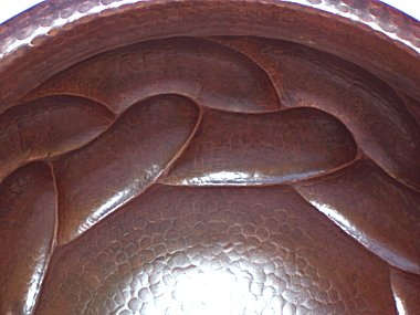 Hammered Round Braided Bathroom Copper Sink Close-Up