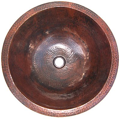 Undermount Hammered Round Bathroom Copper Sink