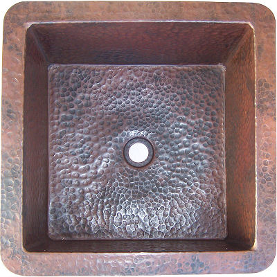 Squared Undermount Hammered Bathroom Copper Sink III