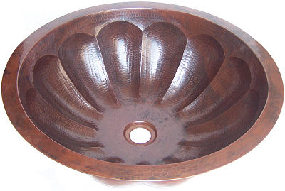 Undermount Hammered Round Shell Bathroom Copper Sink Close-Up