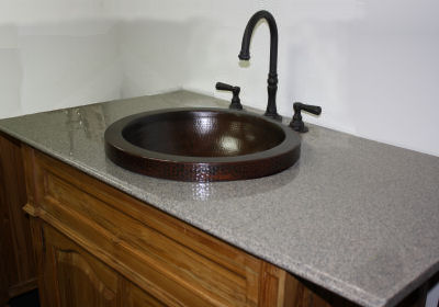 Small Apron Round Hammered Bathroom Copper Sink Details