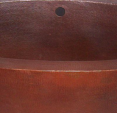 Double Wall Oval Hammered Copper Bath Tub Close-Up