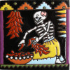 The Chile Trensas. Day-Of-The-Dead Clay Tile