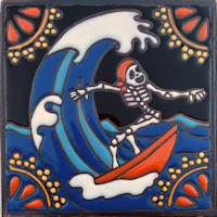 Gone Surfing. Day-Of-The-Dead Clay Tile