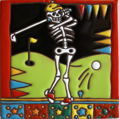 Golfing. Day-Of-The-Dead Clay Tile