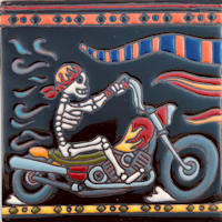 Motorcycle Riding. Day-Of-The-Dead Clay Tile