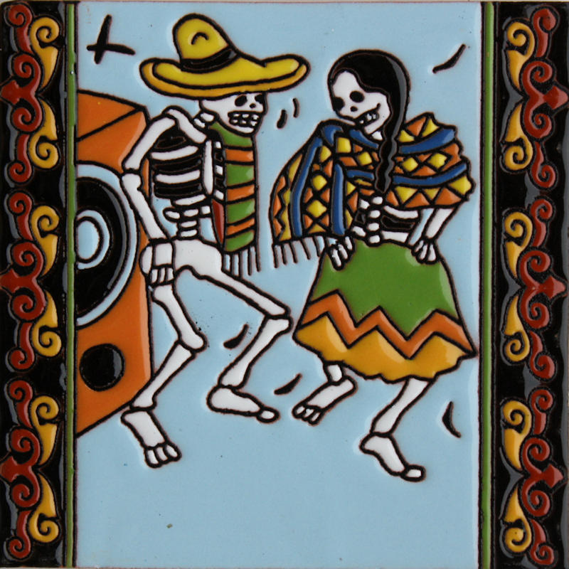 The Dancers. Day-Of-The-Dead Clay Tile