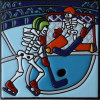 Hockey On Ice. Day-Of-The-Dead Clay Tile