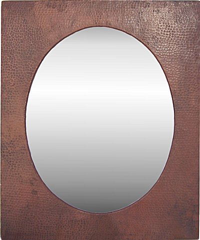 Small Hammered Oval Copper Mirror