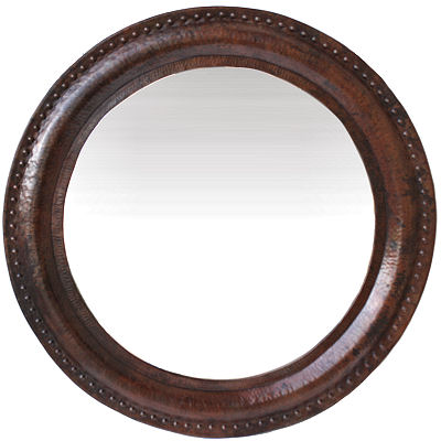 Big Round Hammered Copper Mirror