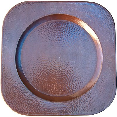 Squared Hammered Copper Plate