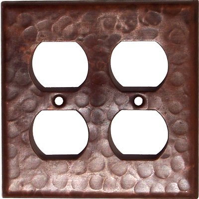 Double Duplex Outlet Hammered Copper Wall Plate