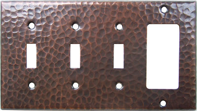 Triple Switch Single Decora Hammered Copper Plate
