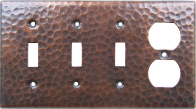 Triple Switch Single Outlet Hammered Copper Plate