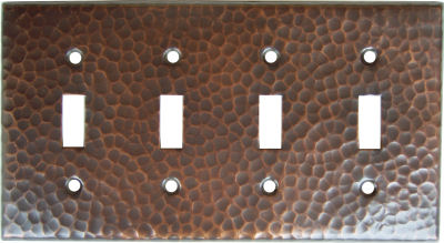 Quadruple Switch Hammered Copper Plate
