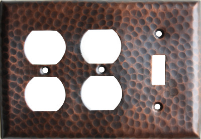 Double Outlet Switch Hammered Copper Plate