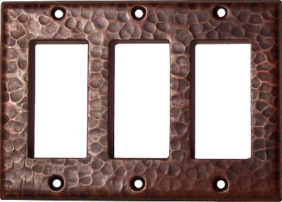 Triple Decora Hammered Copper Switch Plate