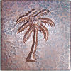 Palm Tree Hammered Copper Tile
