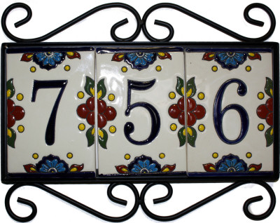 Wrought Iron House Number Frame Mission 3-Tiles Close-Up