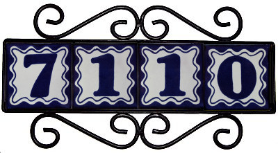 Wrought Iron House Number Frame Bouquet-Blue 4-Tiles Close-Up