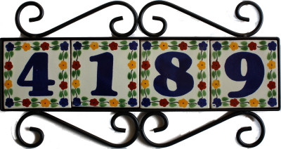 Wrought Iron House Number Frame Bouquet-Blue 4-Tiles Details