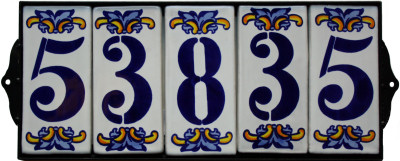 Wrought Iron House Number Frame Villa 5-Tiles Close-Up