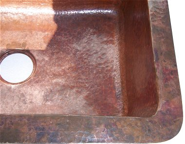 Natural Color Bottom-Rounded Hammered Copper Kitchen Sink Close-Up