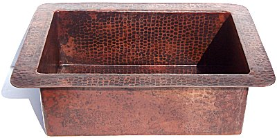 Hammered Flat Copper Kitchen Sink Details