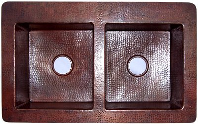 Double Same-Size-Bowl Hammered Copper Kitchen Sink