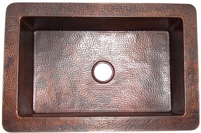 Flat Hammered Copper Kitchen Sink V