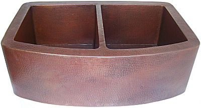 Farmhouse Modern Double Bowl Hammered Copper Kitchen Sink Details