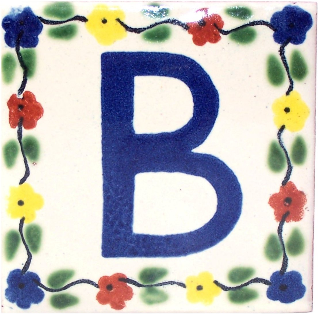 Bouquet Talavera Clay House Letter B