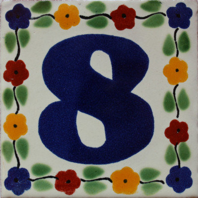 Bouquet Talavera Tile Number Eight