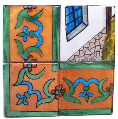 Patzcuaro Lake Clay Talavera Tile Mural Close-Up