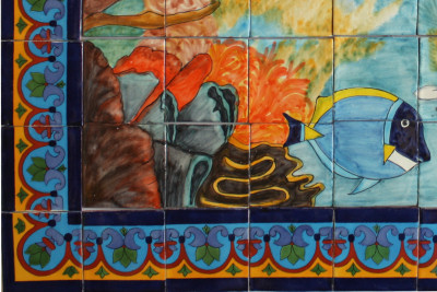Coral Reef. Clay Talavera Tile Mural Close-Up