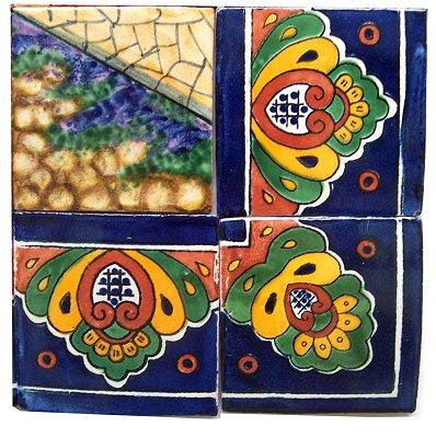Volcano Clay Talavera Tile Mural Close-Up