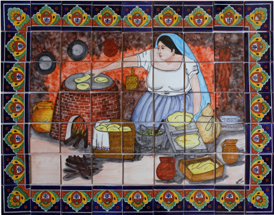 Tortilla Maker. Clay Talavera Tile Mural