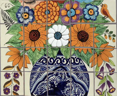Flower Vase Mexican Tile Mural Close-Up