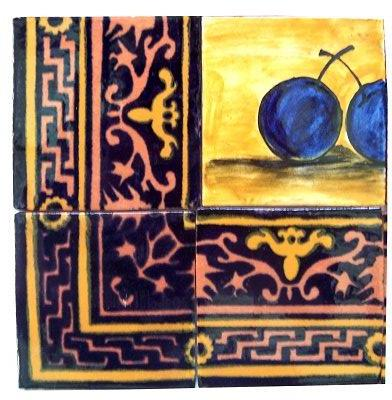 Callalillies Clay Talavera Tile Mural Close-Up
