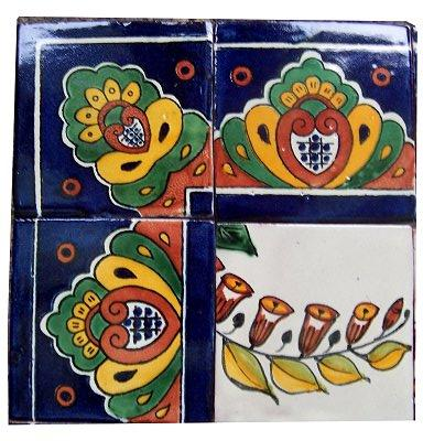 Basket Of Flowers Clay Talavera Tile Mural Close-Up