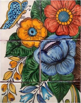 Basket Of Flowers Clay Talavera Tile Mural Details