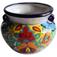 Small-Sized Rainbow Mexican Colors Talavera Ceramic Garden Pot