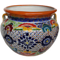 Small-Sized Cherato Mexican Colors Talavera Ceramic Garden Pot