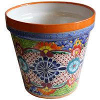 Large-Sized Ayumba Mexican Colors Talavera Ceramic Garden Pot