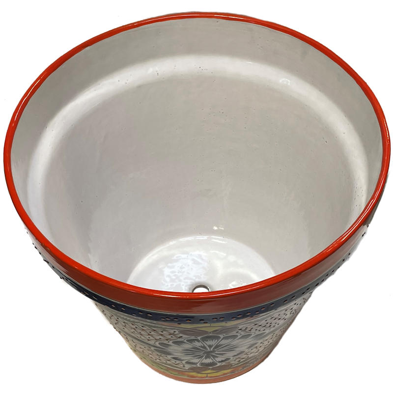 Big Multicolor Talavera Ceramic Pot Close-Up